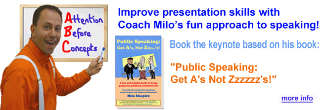 Public Speaking Skills Keynote by coach Milo Shapiro